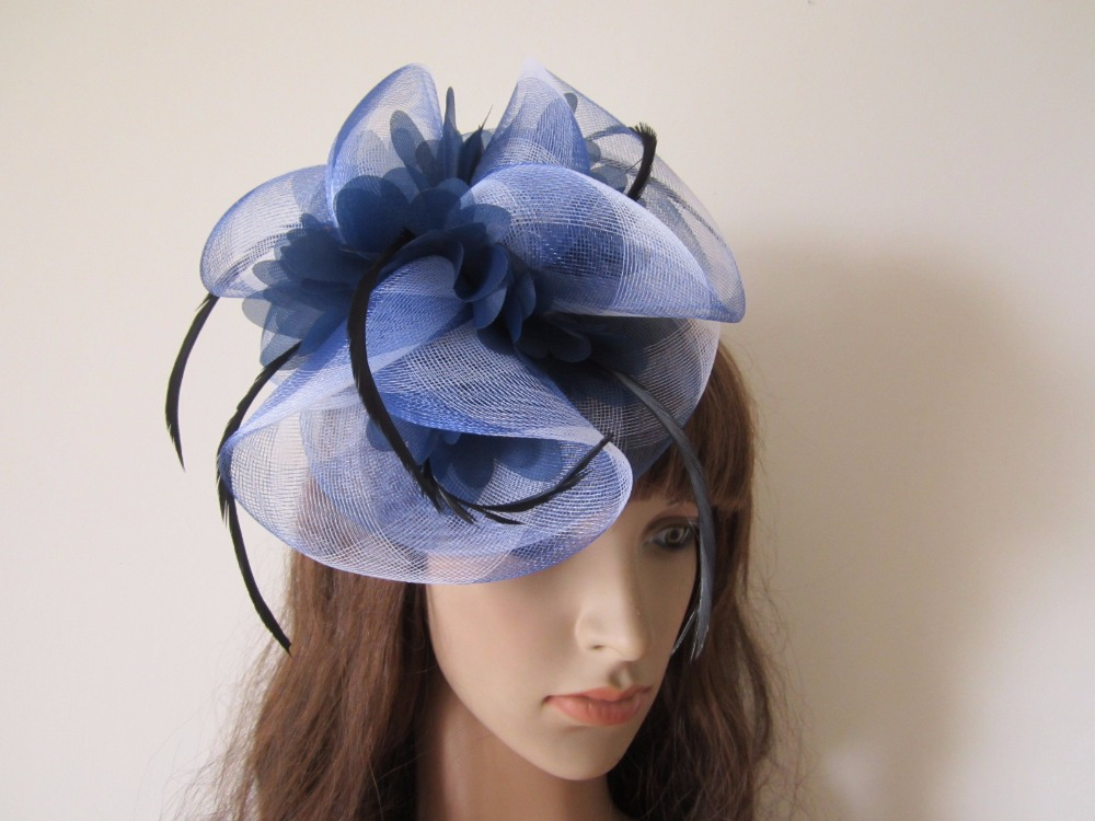 Navy Dark Blue   White Mixed Feathers Fascinators Hat Hair Clip Claw  Barrette Fascinator Headwear Pary Races d03d044d4f7