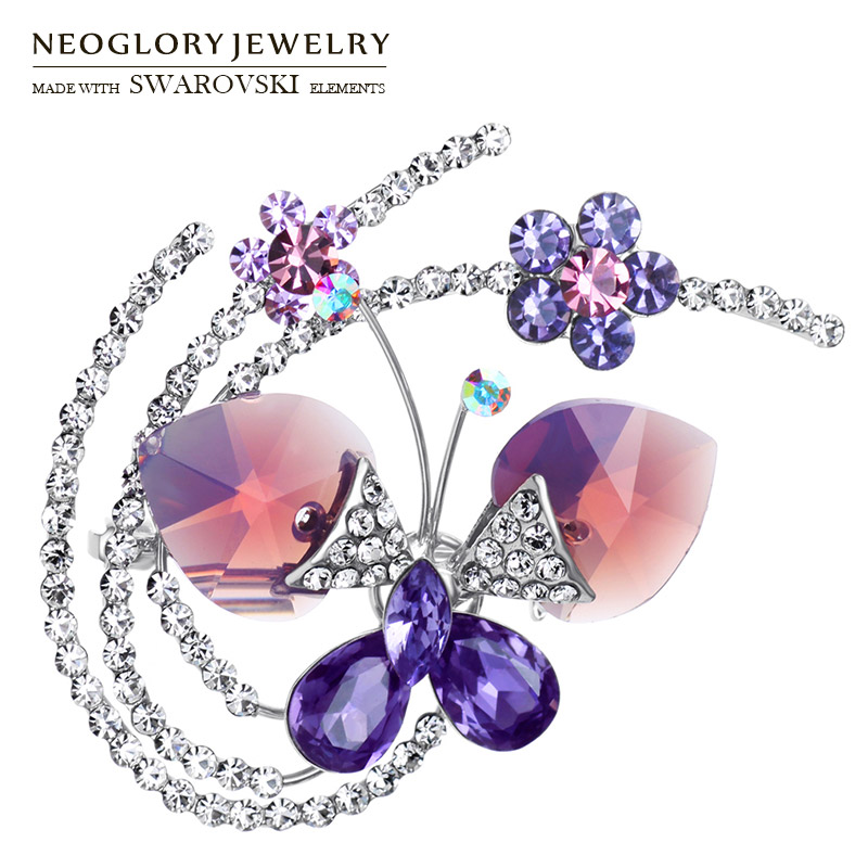 Neoglory Austria Crystal & Czech Rhinestone Brooch Elegant Butterfly Design For Women Sale Gift Alloy Plated Trendy