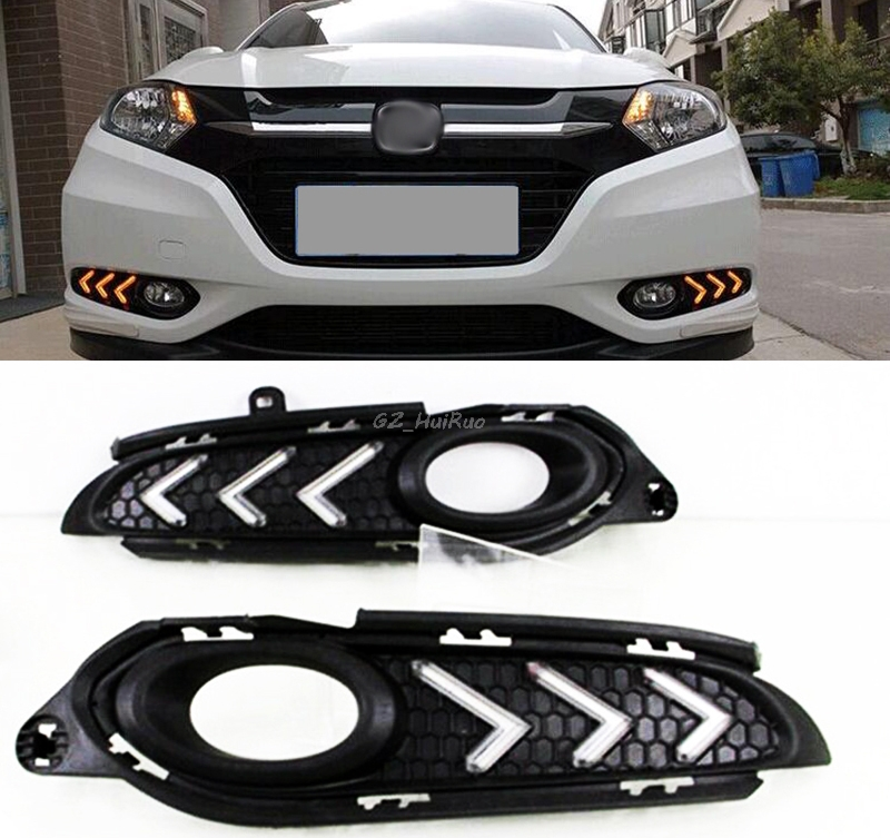 цена на 1Set LED Daytime Running Light DRL 12V Day Light with yellow signal  For Honda HRV Vezel HR-V 2015 2016  Car styling