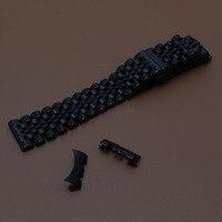 Из нержавеющей стали металлический ремешок для часов Ремешок Бабочка Пряжка 17 18 19 20 21 22 мм черный металлические часы полосы ремни модные пол...