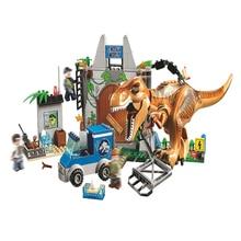 Jurassic World Dinosaur Building blocks Tyrannosaurus Rex Breakout figure Bricks Compatible With 10758 toys for children legoing jurassic world series t rex breakout model building block brick toy for children birthday gift compatible 10758