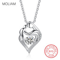 MOLIAM Real 925 Sterling Silver Pendant Necklace Mother Kids Love Heart Necklaces Fashion Mom And Children