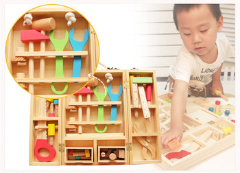 Kids Wooden Multifunctional Tool Set Maintenance Box Wooden Toy Baby Nut Combination Educational Toy 1