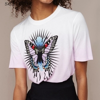 Women T Shirt 2018 Summer Short Sleeve Butterfly Embroidered Ladies Tops