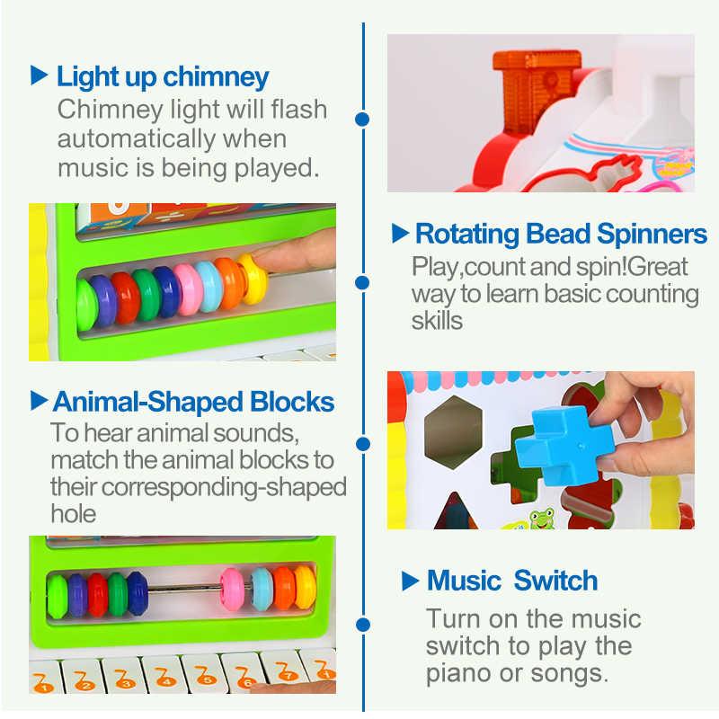 Детский Забавный домик на дереве развивающий куб игрушка обучающий домик с музыкой и огнями и обучающими играми и в форме животных часы-кольцо с крышкой игрушка