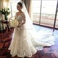 Vestido De Noiva Elegant Long Sleeve Wedding Dresses 2016 Custom Made Sparking Appliques Lovely Bridal Wedding Gowns z103004