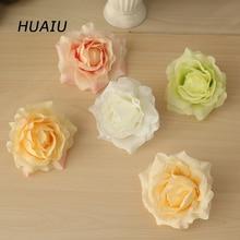 9pcs Artificial Rose Flower Heads DIY Silk hotel background wall decor Road led wedding flower Bouquet