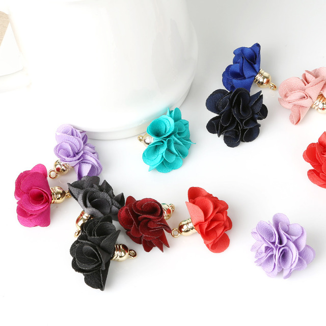 10 PCS 14 Color Flowers Pendant Tassels/Brush For Woman Fashion Jewelry DIY Earring Jewelry Accessories