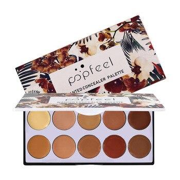 Popfeel-paleta correctora de Maquillaje, 10 colores, Color negro, Corrector de contorno de...