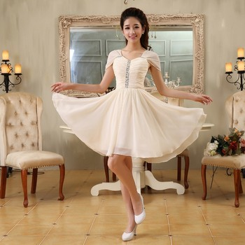New Short Evening Dresses Elegant Cap Sleeves Chiffon Bride Gown Ball Prom Party Homecoming/Graduation Formal Dress 2016 new lace evening dresses with cap sleeve flower red bride gown ball prom party homecoming graduation princess formal dress