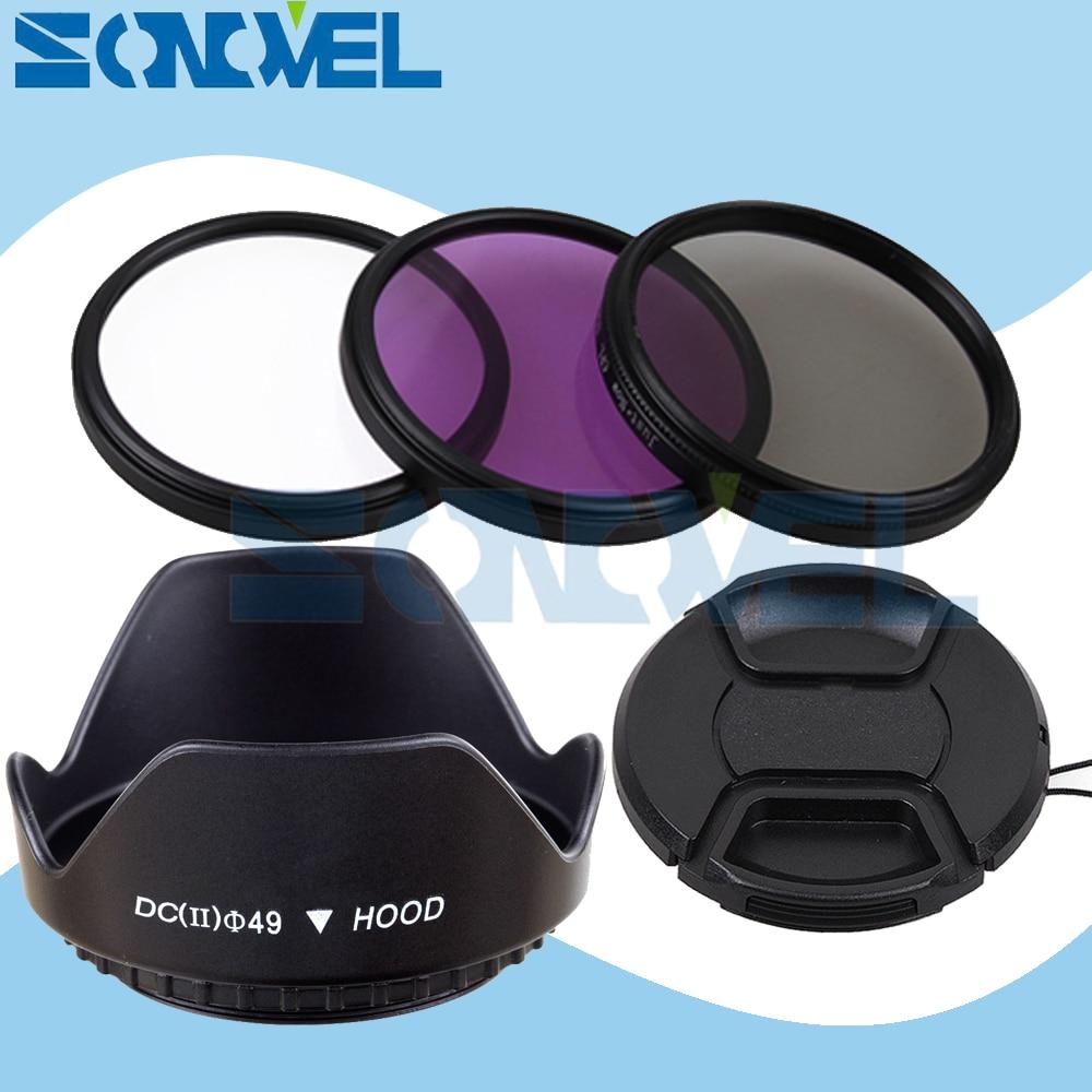 49mm UV CPL FLD Lens Filter Kit+Lens Cap+Flower Lens Hood For Sony NEX-F3 NEX-6 NEX-7 NEX-5R/5T A5100 A6000 & E 55-210mm/18-55mm стоимость