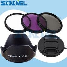 49 мм УФ CPL FLD фильтра объектива Kit + объектив Кепки + Цветок бленда для Sony NEX-F3 NEX-6 NEX-7 NEX-5R/5 т A5100 A6000 & E 55-210 мм/18-55 мм