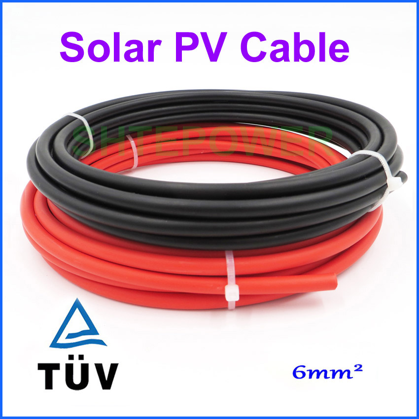 20 meters a lot 6mm2 Solar Cable Red or Black PV Cable Wire Copper Conductor 10M