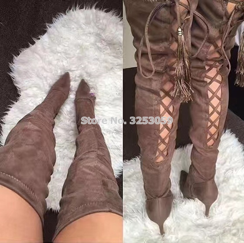 цены ALMUDENA Sexy Suede Pointed Toe Lace-up Long Boots Over-the-knee Slim Fit Cross-tied Thigh Boots Freinge Nightclub Dancing Boots