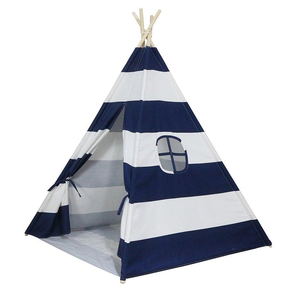 Caché bleu rayé intérieur tente pour enfants jeu maison Triangle indien pliant Playtent pour les enfants