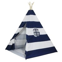 Hidden Blue Striped Indoor Children's Tent Game House Indian Triangle Folding Playtent for Kids