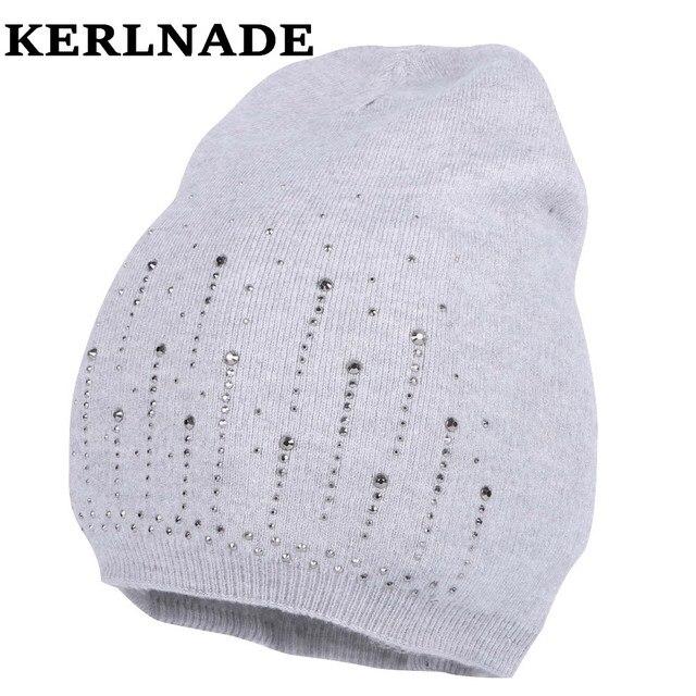 Nuove donne di disegno di lana inverno cappello ragazza di marca di lusso  skullies berretti bling 31814df04678
