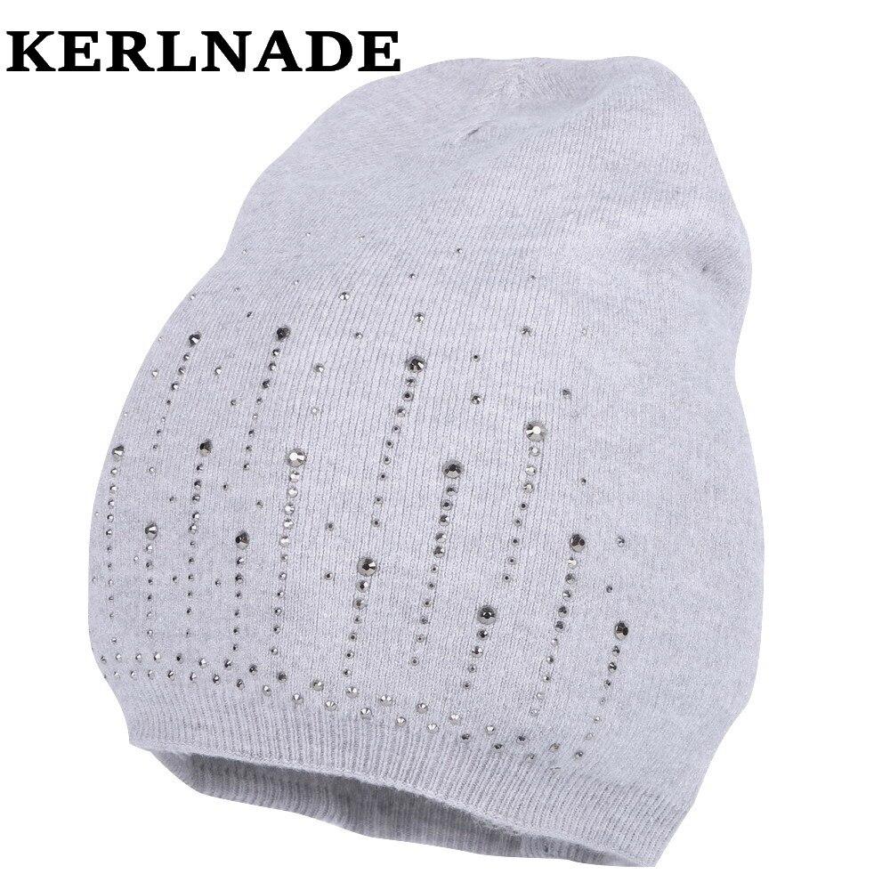new design women wool winter hat girl brand luxury   skullies     beanies   bling rhinestone cotton casual thermal winter hats gorros