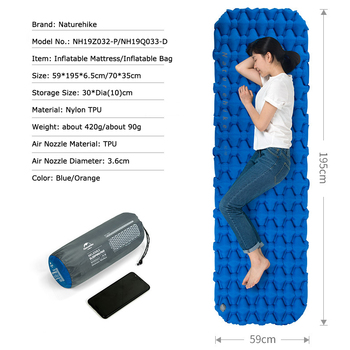Naturehike Portable Outdoor Camping Hiking Single double Thicken Moisture-proof Inflatable Sleeping Mattress Mat Pad bed bag 2