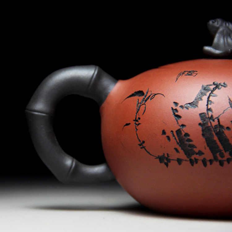 إبريق شاي صيني يشينغ تيوير إبريق شاي أصليّ ييشينغ إبريق شاي يدوي مشهور منجم طين أرجواني طقم شاي 370 مللي