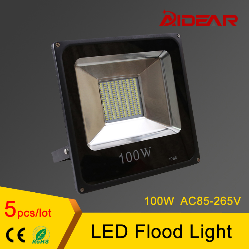Led Flood Lights Waterproof 100W IP65 LED Floodlight Spotlight Outdoor Lighting Ultrathin Lamp AC85-26V ultrathin led flood light 100w 150w 200w black garden spot ac85 265v waterproof ip65 floodlight spotlight outdoor lighting