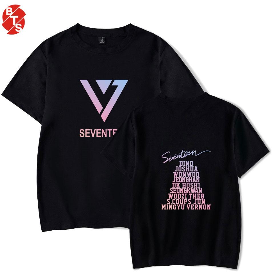 SEVENTEEN kpop Summer Casual T-shirt Men/Women Short Sleeve Fashion Printed tshirt SEVENTEEN Cool Tee shirts Streetwear Clothes