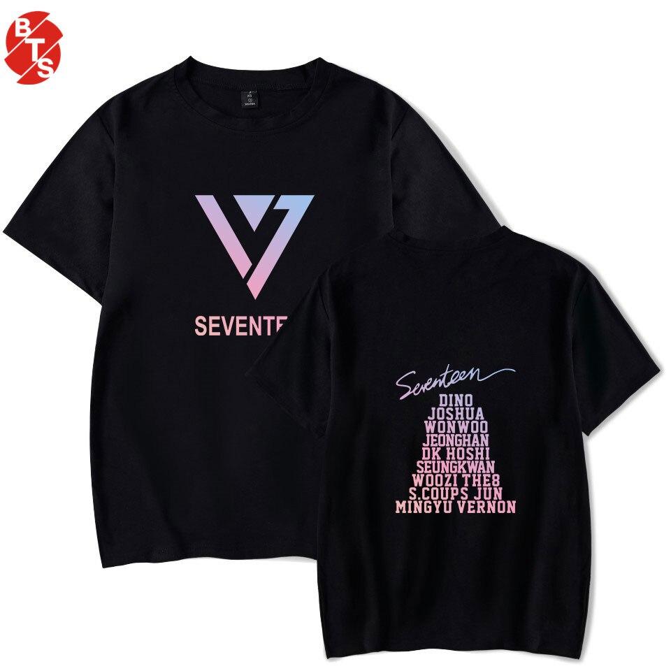 T-shirts Siebzehn Kpop Sommer Casual T-shirt Männer/frauen Kurzarm Mode Gedruckt T-shirt Siebzehn Cool T Shirts Streetwear Kleidung Direktverkaufspreis