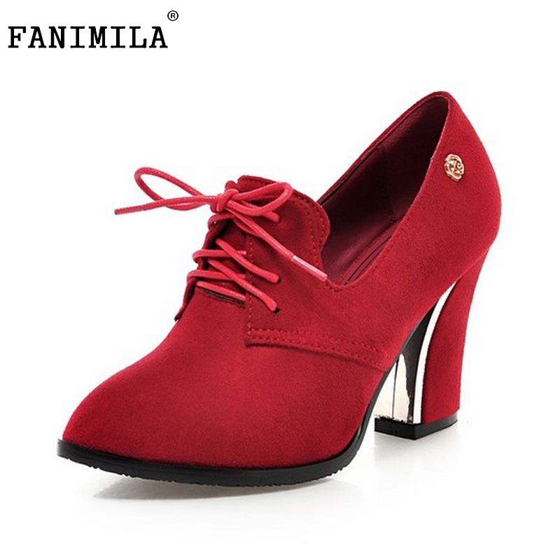 fed34646e25f Size 31-48women Pointed Toe High Heel Shoes Fashion Lace-Up Office Lady  Shoes Woman Square Heeled Pumps Brand Dress Shoes