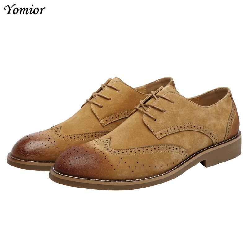 Yomior italien affaires hommes chaussures vache daim robe formelle appartements chaussures en cuir Designer bureau de luxe marque mariage chaussures Brogue