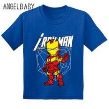 """Лидер продаж «мстители» из мультфильма """"Железный человек"""" с принтом детская футболка Летняя одежда для маленьких девочек, хлопковая футболка с коротким рукавом для мальчиков, забавная одежда, GKT253"""