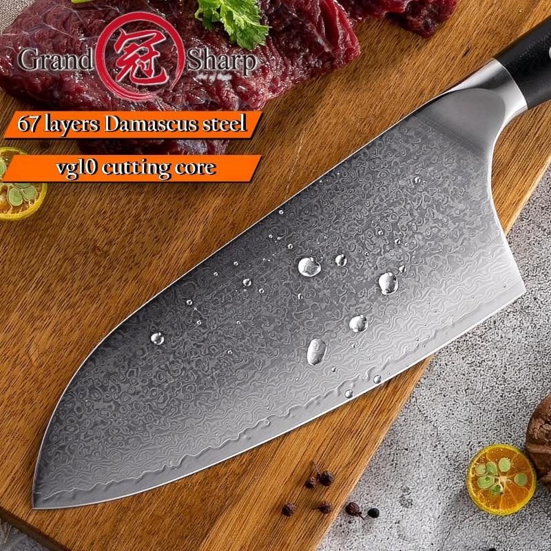 Ev ve Bahçe'ten Mutfak Bıçakları'de Cleaver Bıçağı 7.2 inç VG10 Japon Şam Çelik Mutfak Bıçakları 67 Katmanlar Kasap Araçları şefin Japon Şam Bıçağı Pro'da  Grup 3