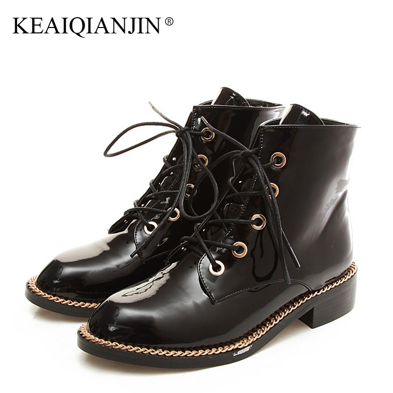 KEAIQIANJIN Woman Lace Up Chelsea Boots Black Red Plus Size 33 - 44 Plush Boots Fashion Patent Leather Autumn Winter Shoes 2018 коньки onlitop 30 33 red black 1231414