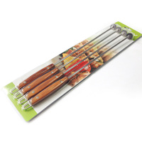 New 4pcs 18.5''(47cm) Wood BBQ Skewers Long Barbecue Grill Needle Stainless steel Shish Kebob Skewers w/ Wooden Handle BBQ Tool