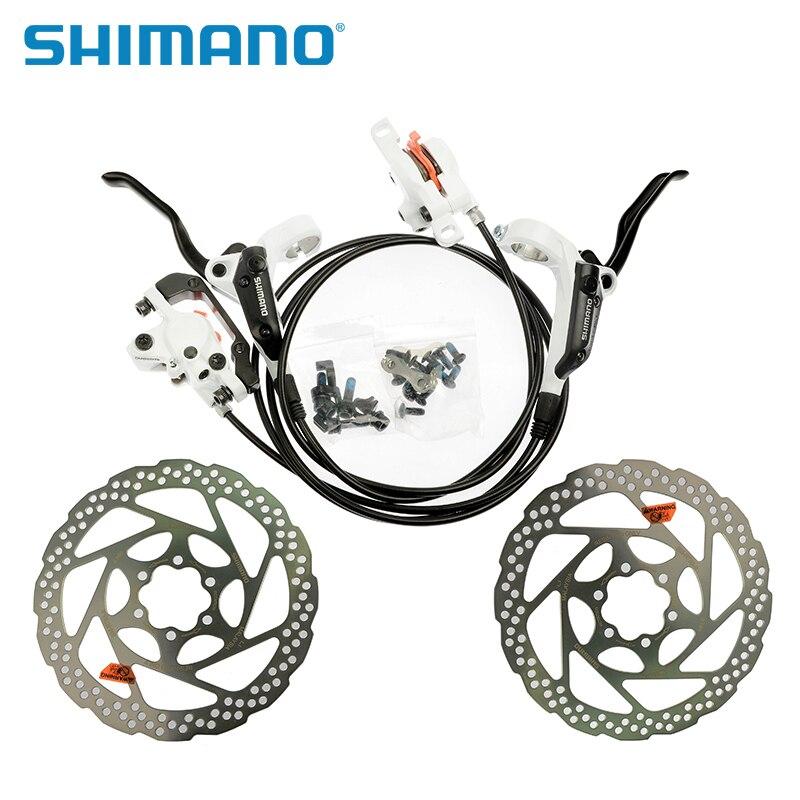 Цена за SHIMANO BR BL M355 Гидравлический MTB Горный Велосипед Диск Тормозных Колодок Спереди и Сзади Штангенциркули Рычаги + 2 шт. RT56 160 мм Роторов