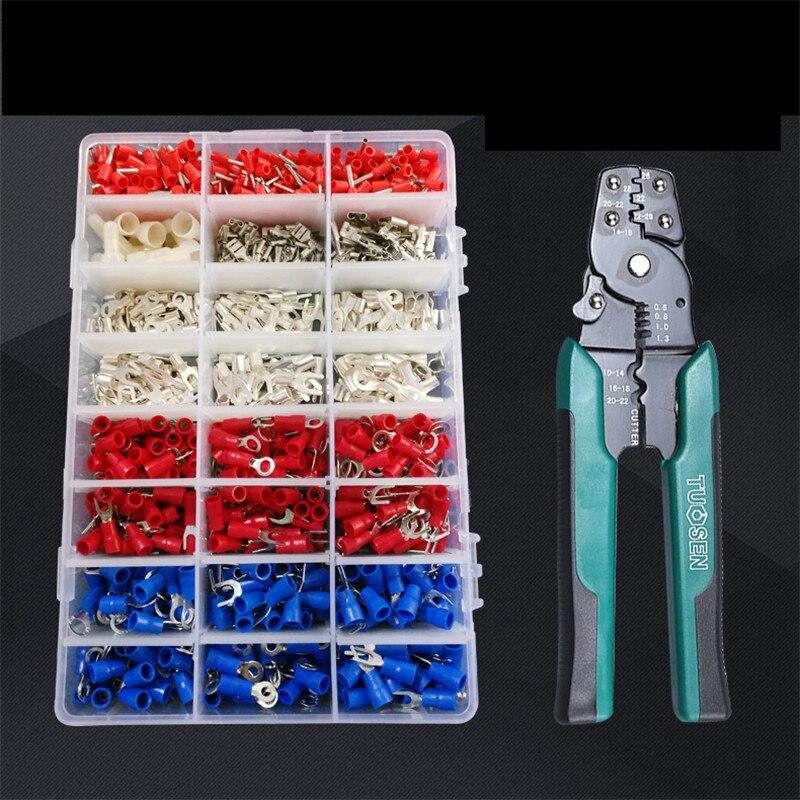 1000 pcs/boîte Froid bornes terminales bornes pré-isolées bornes tubulaires 24 en 1 combinaison paquets Connecteurs Électriques