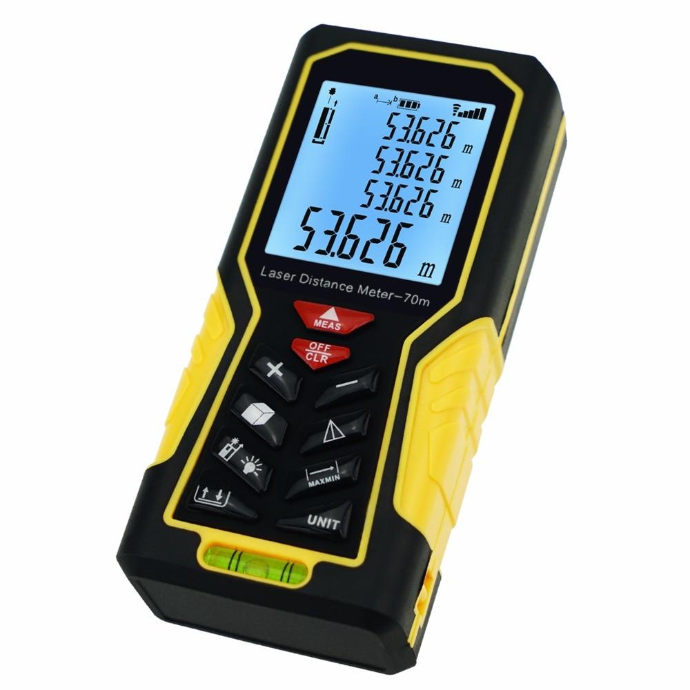 Range Finder Laser Distance Meter 70m (229ft) Area & Volume Measuring Meter w/ Backlight and Spirit Bubble Level +/-1mm accuracy original dvb t satlink ws 6990 terrestrial finder 1 route dvb t modulator av hdmi ws 6990 satlink 6990 digital meter finder