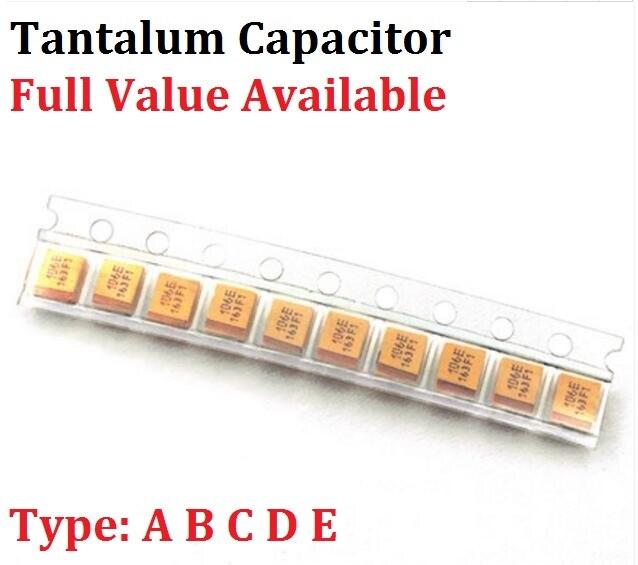 Танталовый конденсатор типа B 4 в 6,3 В 16 в 25 в 35 в 1 мкФ 50 в 4,7 мкФ 10 мкФ 47 мкмкФ 100 мкФ 220 мкФ 227 476 107 475 106 105 3528 1210, 10 шт.
