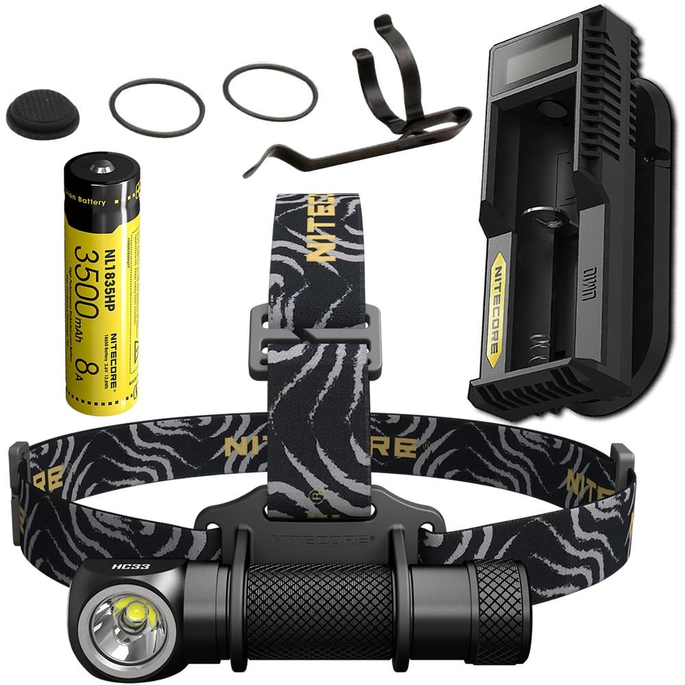 NITECORE HC33 1800 Lumen Projecteur UM10 chargeur + 18650 Batterie Rechargeable Phare lampe de Poche Étanche Camping En Plein Air Voyage