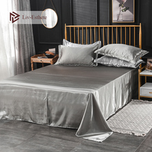 Liv-Esthete 2019 Hot Sale Wholesale Luxury 100% Satin Silk Gray 1PCS Flat Sheet Silky Queen King Bed Sheets For Women Men