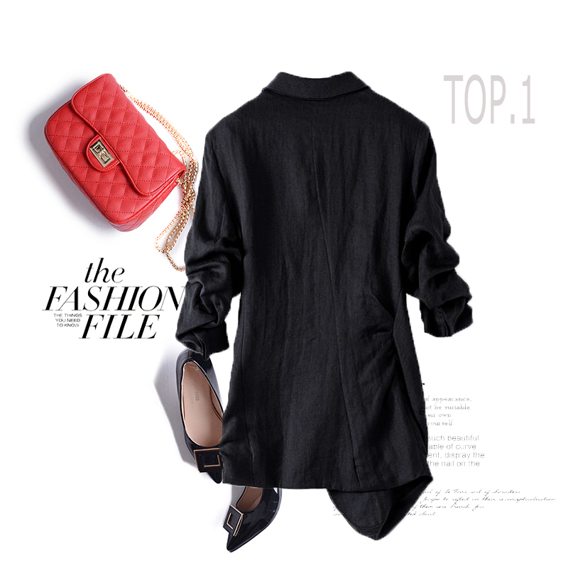 New Spring and summer  long joker small suit female loose show thin white suit fold thin coat suits of big yards