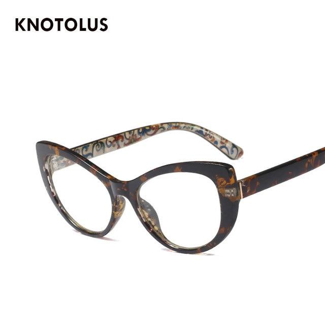 fbb9bf8faac9 Knotolus 2018 Transparent Cateye Glasses Clear Lenses Women Fashion Myopia Eyewear  Brand Designer Vintage Optical Frame