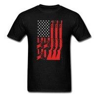 Amantes Homens e Mulheres T-Shirt Da Bandeira americana Com Arma Arma Tee grande Tamanho S-XXXL