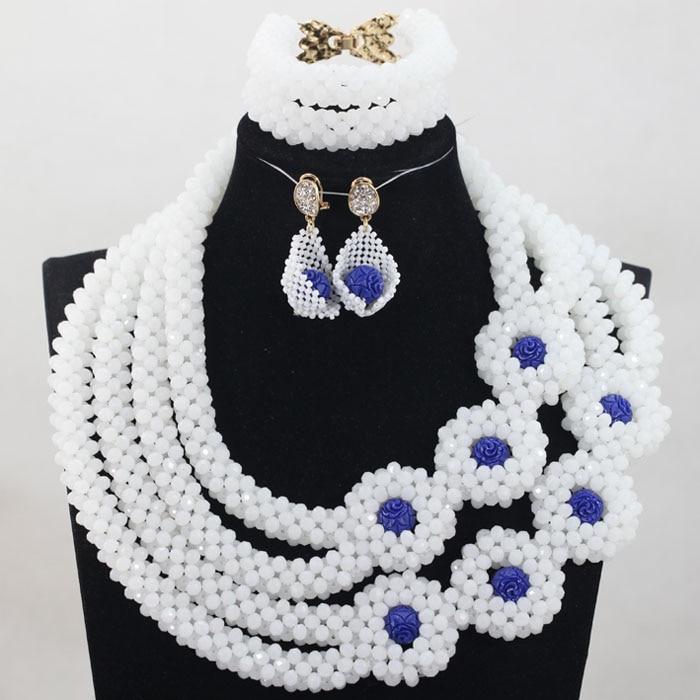 все цены на Trendy Handmade White Crystal Pendant Necklace Wedding Jewelry Set Elegant Bracelet Necklace Earrings Set Free ShippingABH420