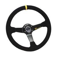 SPC Style 350mm Suede Leather Deep Dish Racing Steering Wheel Universal Aluminum Frame Yellow Stripe Car Auto Steering Wheel
