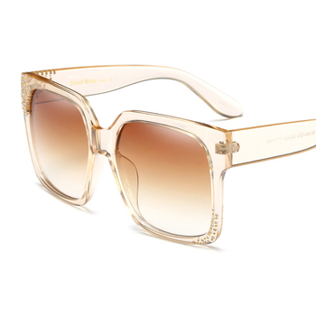 Women Luxury Crystal Rhinestone Square Oversize Mirror Sunglasses Retro Diamonds Sun Glasses 2