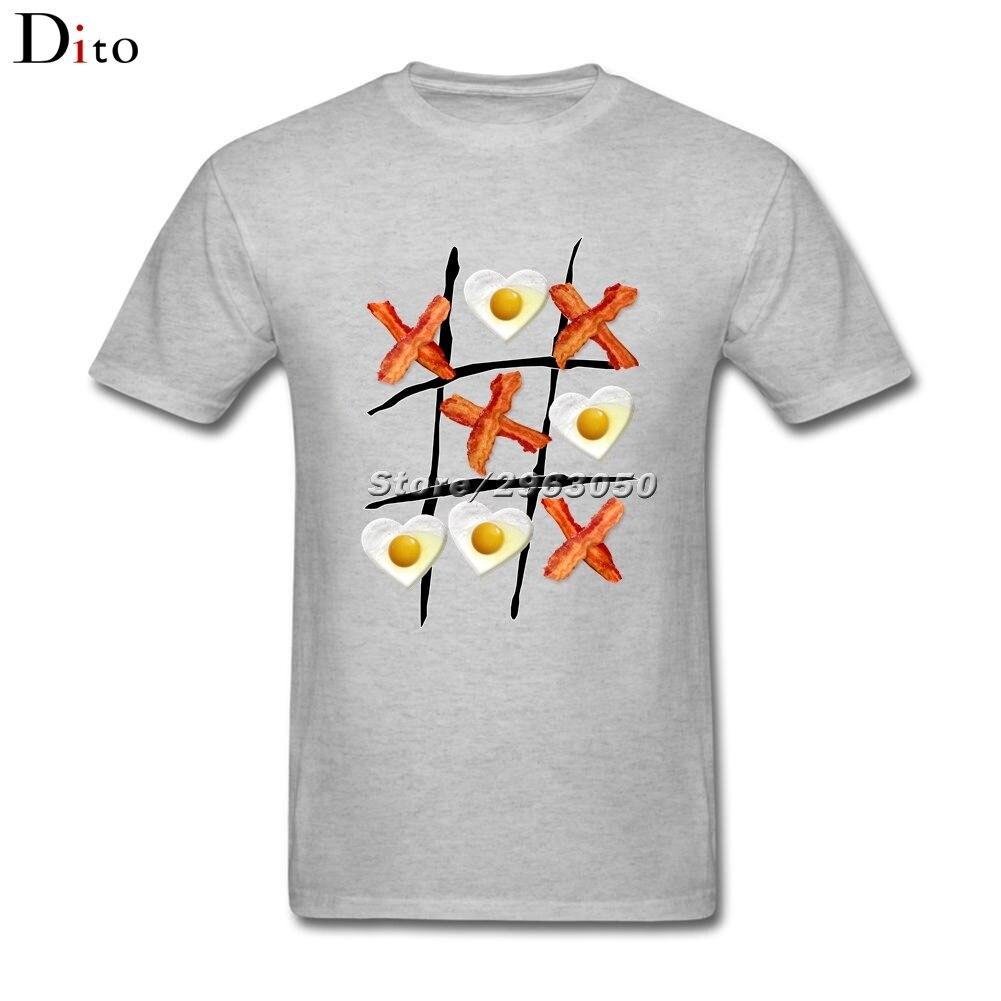 Bacon Tic Tac Toe T-shirt Mens Summer Custom Short Sleeve Valentines 3XL Team T Shirts ...