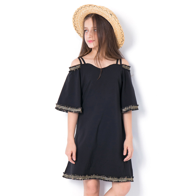 Young Girls Black Dress Size 6 8 10 to 12 14 16 Years 2018 Summer Chiffon Dress Flare Half-Sleeved Shoulder Off Dress Kids faux pearl beading open shoulder knot chiffon dress