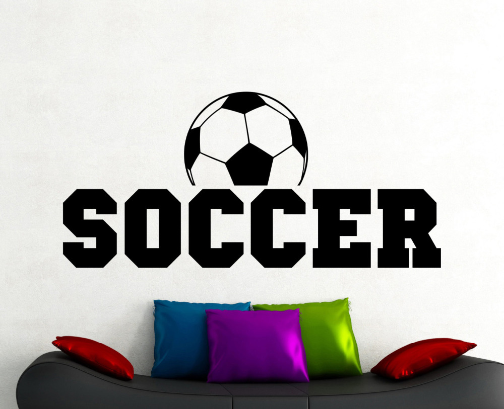 Soccer Wall Sticker Football Decal Home Decorations Living Room Kids Room Wall Decals Playroom Sports Decor Vinyl Wall Art A163