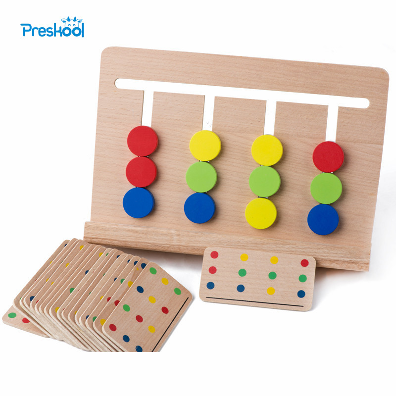 Baby Toy Montessori Four Colors Game Color Matching for Early Childhood Education Preschool Training Learning Toys montessori education wooden toys four color game color matching early child kids education learning toys building blocks