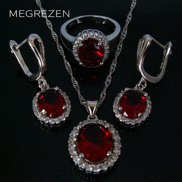 Crystal Sistemas de La Joyería Declaración Collares Moda Joyería Del Banquete de Boda Set Cristales Austriacos Pendientes Con Piedra Roja